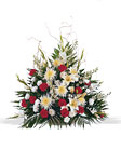 Red & White Traditional Funeral Mache